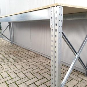 Werkbank 100cm hoog, 380cm breed, 80cm diep, 1 laag, 250kg wielen