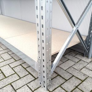 Werkbank 110cm hoog, 380cm breed, 80cm diep met 2 lagen