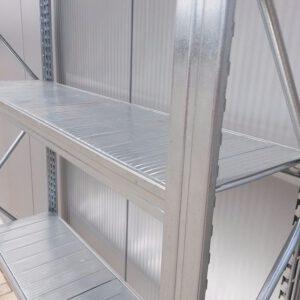Gegalvaniseerde stelling, 200cm hoog, 4 borden van 31,5 x 118cm (Aanbouw)